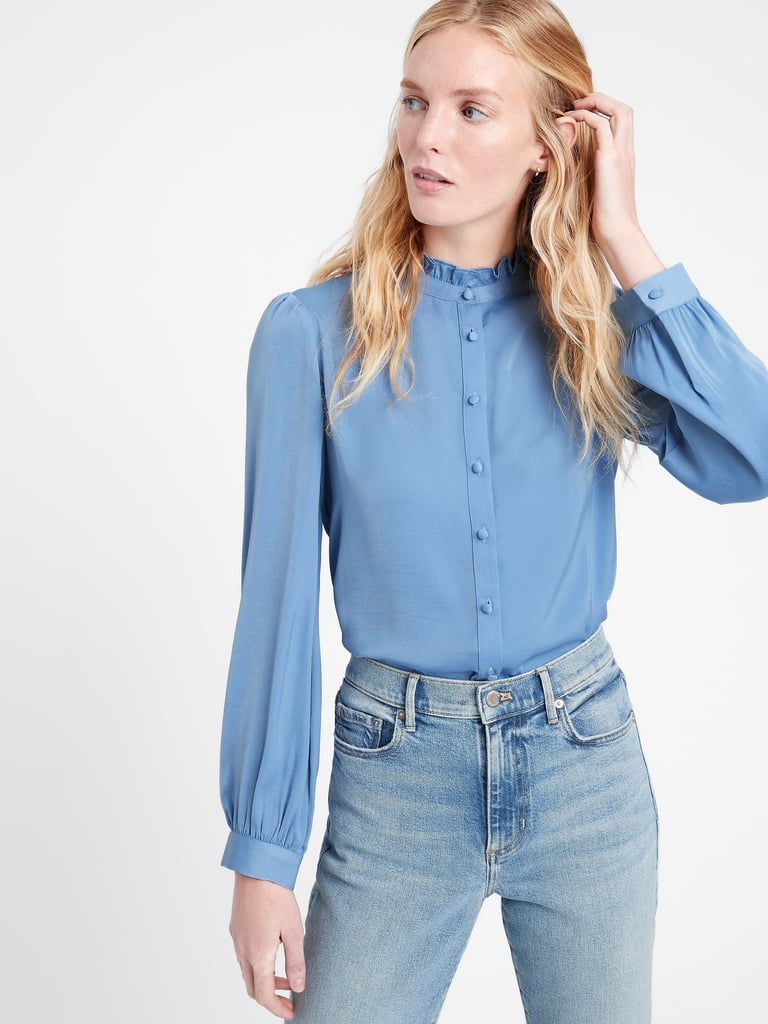 Soft Satin Ruffle-Collar Shirt