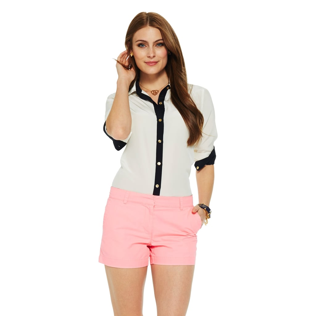 In simple black and white, this C. Wonder silk button-up ($118) will match plain denim or bright bottoms.