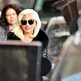 Lady Gaga Sheer Black Dress on Jimmy Kimmel