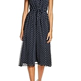 Maggy London Sleeveless Polka Dot Tie Waist Midi Dress