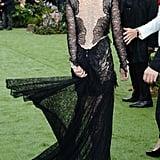 Kristen Stewart wore a lacy Marchesa dress in London.