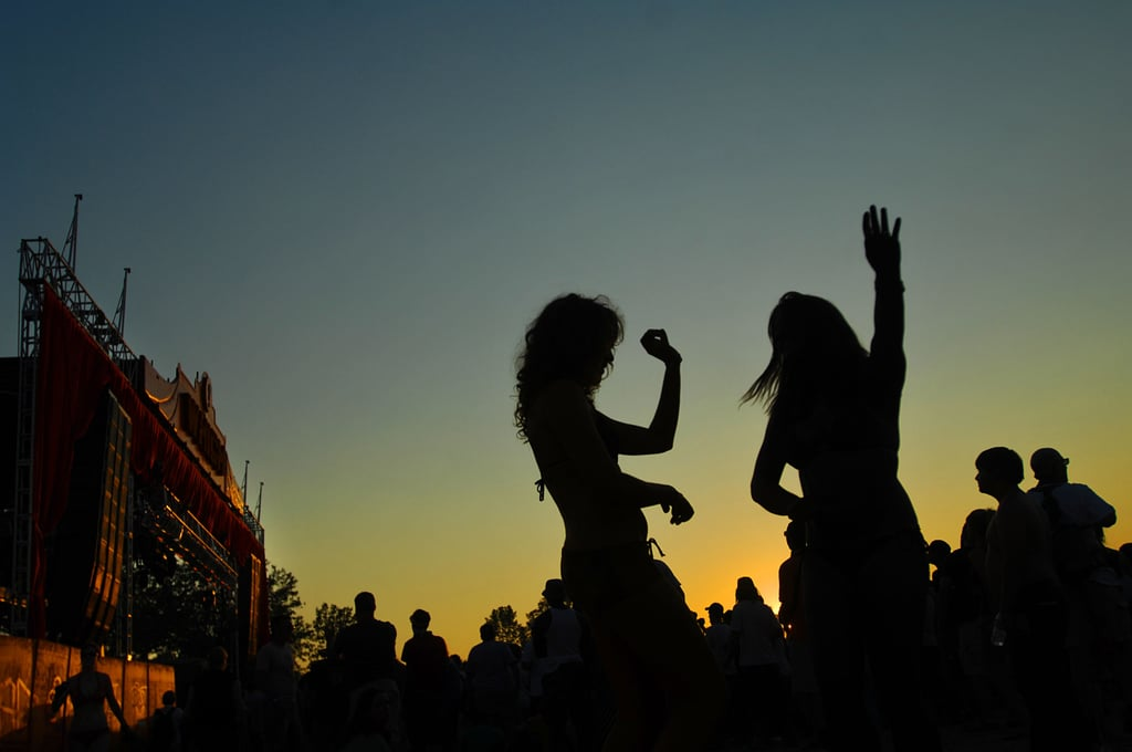 Dancers silhouetted against the sunset in 2007.