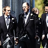 Mike Tindall walks in with his groomsmen.