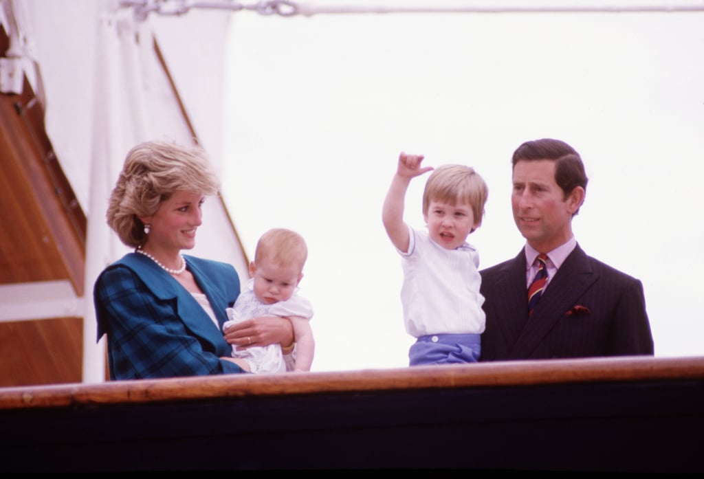 Diana, Charles, Harry, and William in Italy, 1985