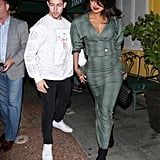 Priyanka Chopra's Green Suit and Sock Boots With Nick Jonas
