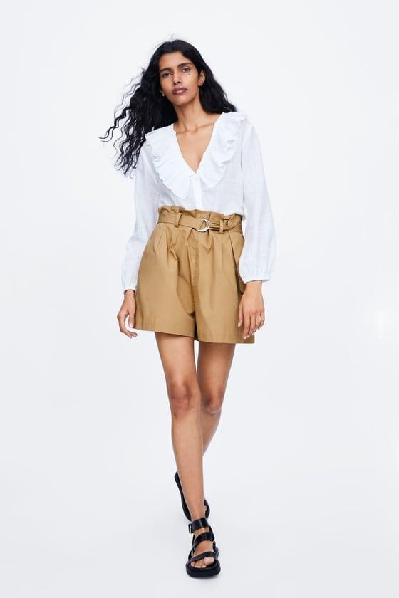 Zara Belted Poplim Bermuda Shorts