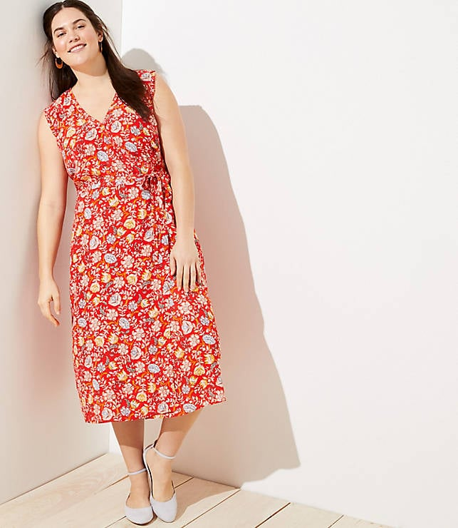 LOFT Plus Floral Ruffle Midi Wrap Dress