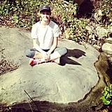 Actress Emmy Rossum takes a break during her hike.