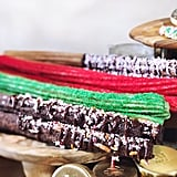 Chocolate Churro With Crushed Pretzels and Peppermint, Red and Green Holiday Churros, and Peppermint Churro