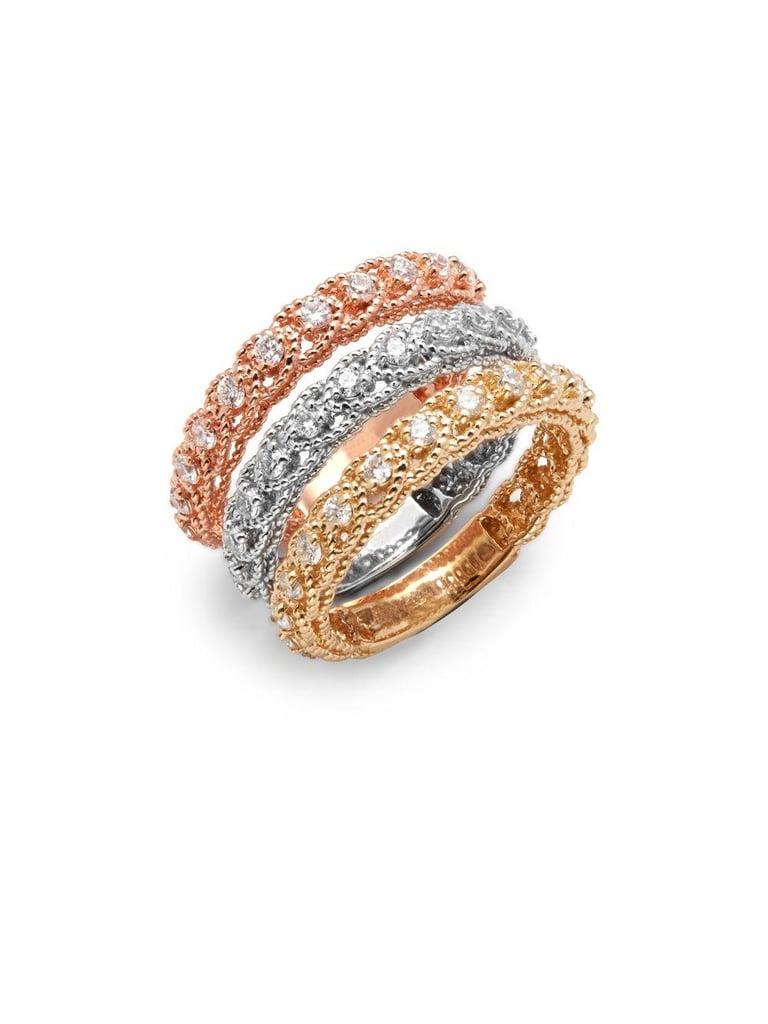 3650035ab4df6 Saks Fifth Avenue Diamond & 14K Tricolor Gold Illusion Stackable ...