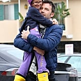 Ben Affleck held onto Violet Affleck.