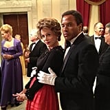 Lenny Kravitz put his arms around Jane Fonda — in character as Nancy Reagan — on the set of The Butler. Source: Twitter user LennyKravitz