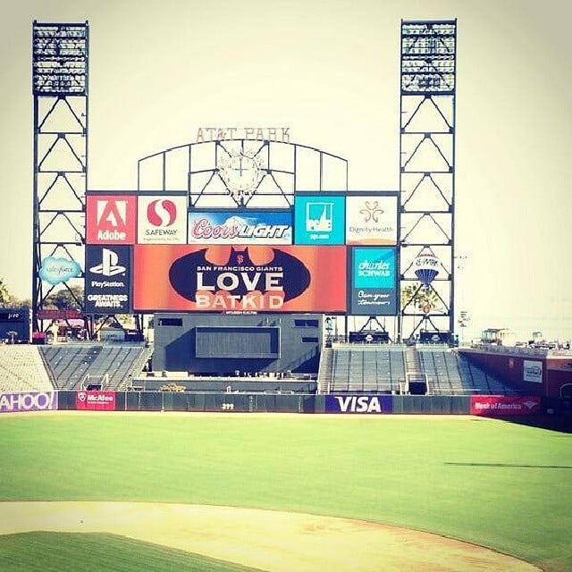 AT&T Park showed some love with a message on the Jumbotron. Source: Instagram user alma_makethat