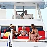 Jennifer Lopez on a boat.