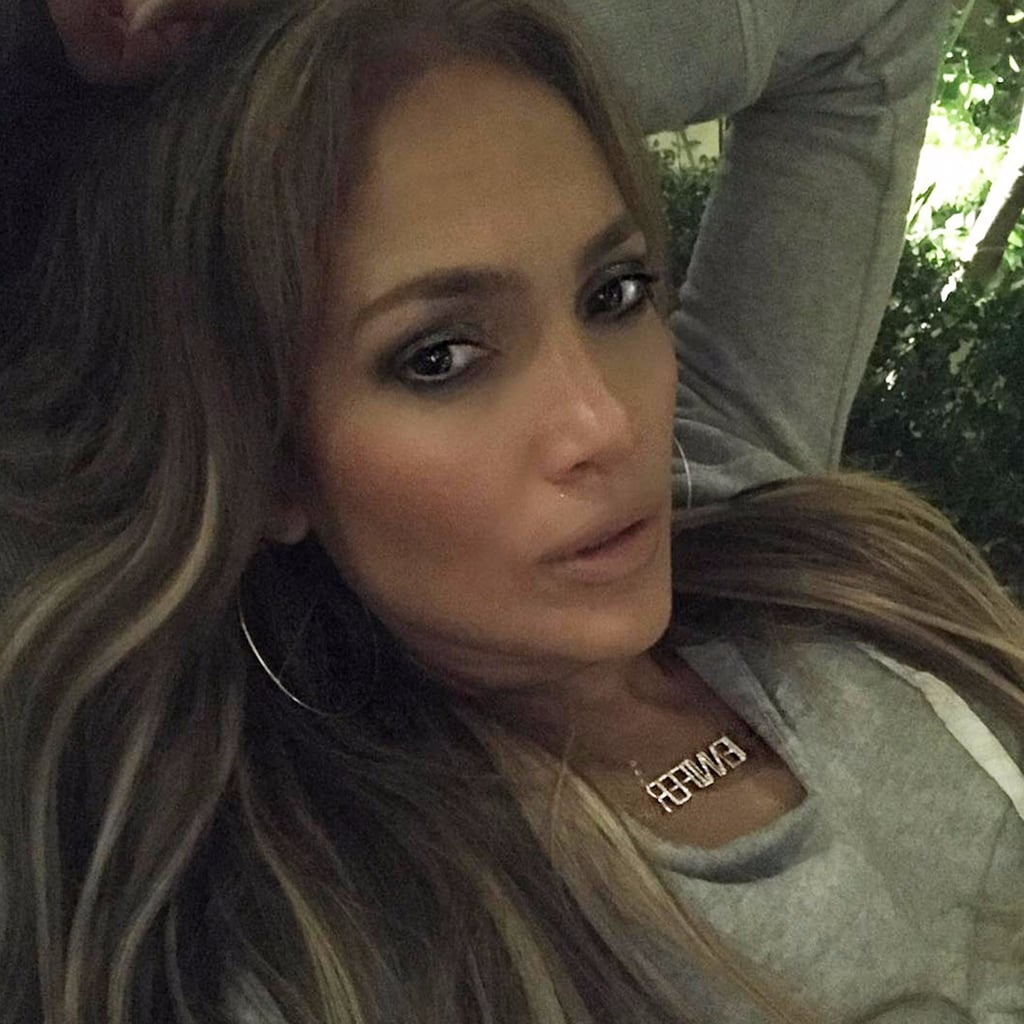 Jennifer Lopez Nameplate Necklace Instagram September 2017
