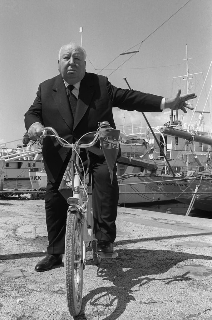 Alfred Hitchcock hitched a ride on a bicycle in 1972.