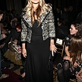 To give her black dress a dynamic punch, Molly Sims also donned a tweedy biker jacket with her look at the Zac Posen show.