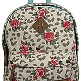 Flower Printed Canvas Backpack