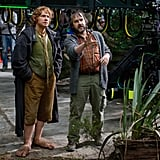 Peter Jackson and Martin Freeman behind the scenes of The Hobbit: An Unexpected Journey.