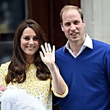 William and Kate greeted the crowd after they welcomed daughter Charlotte into the world in May 2015.