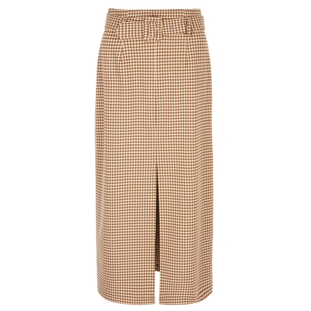 Topshop Tweed Check Belted Straight Midi Skirt