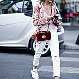 With a printed jacket to liven up white jeans and sneakers