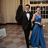 Stephen Colbert, who famously loves to use the French pronunciation of his last name, arrived with his wife, Evie.