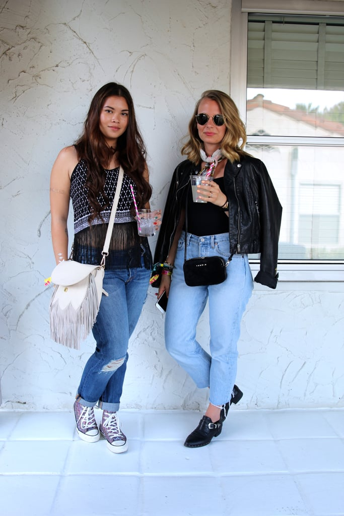 This duo is proof that your favorite pair of jeans works every time. These girls played up their denim with fringe, leather, and adorable accessories like a printed neck scarf and high-tops.