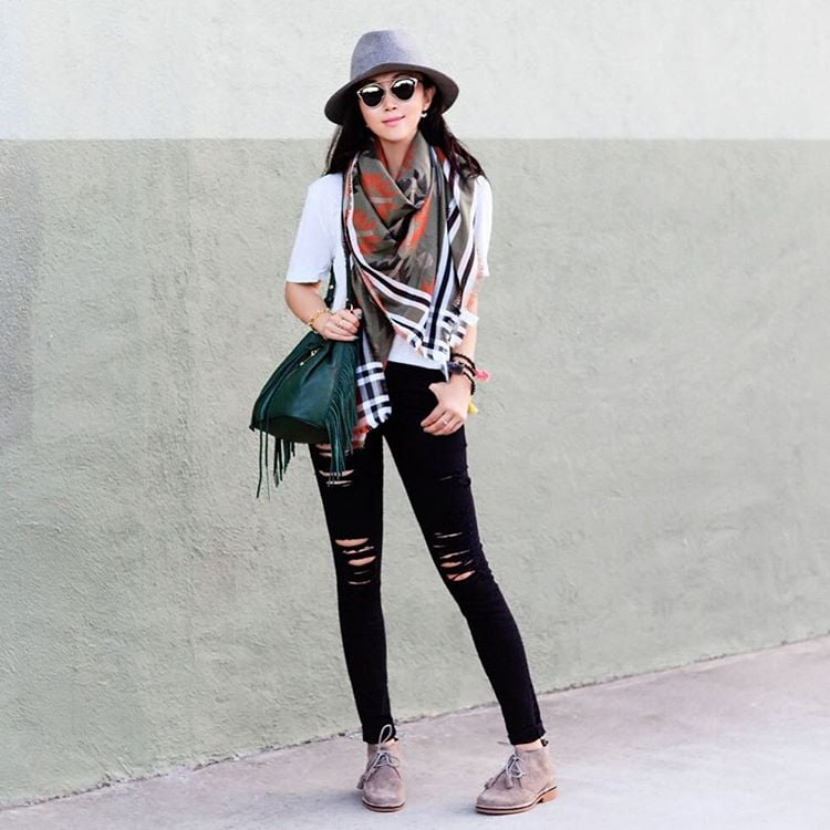 A White Shirt, a Scarf, Black Jeans, Lace-Up Booties, and a Fedora