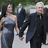 Catherine Zeta-Jones and Michael Douglas were hand in hand at the Vanity Fair Party at the 2012 Tribeca Film Festival.
