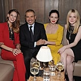 Analeigh Tipton, Elie Saab, Emily Blunt, and Dakota Fanning chatted at a private dinner for Elie Saab in NYC.