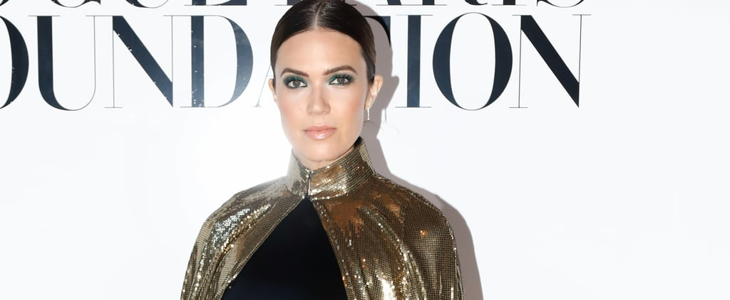 Mandy Moore in Gold Cape in Paris