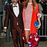 Here she is with shoe designer Christian Louboutin.