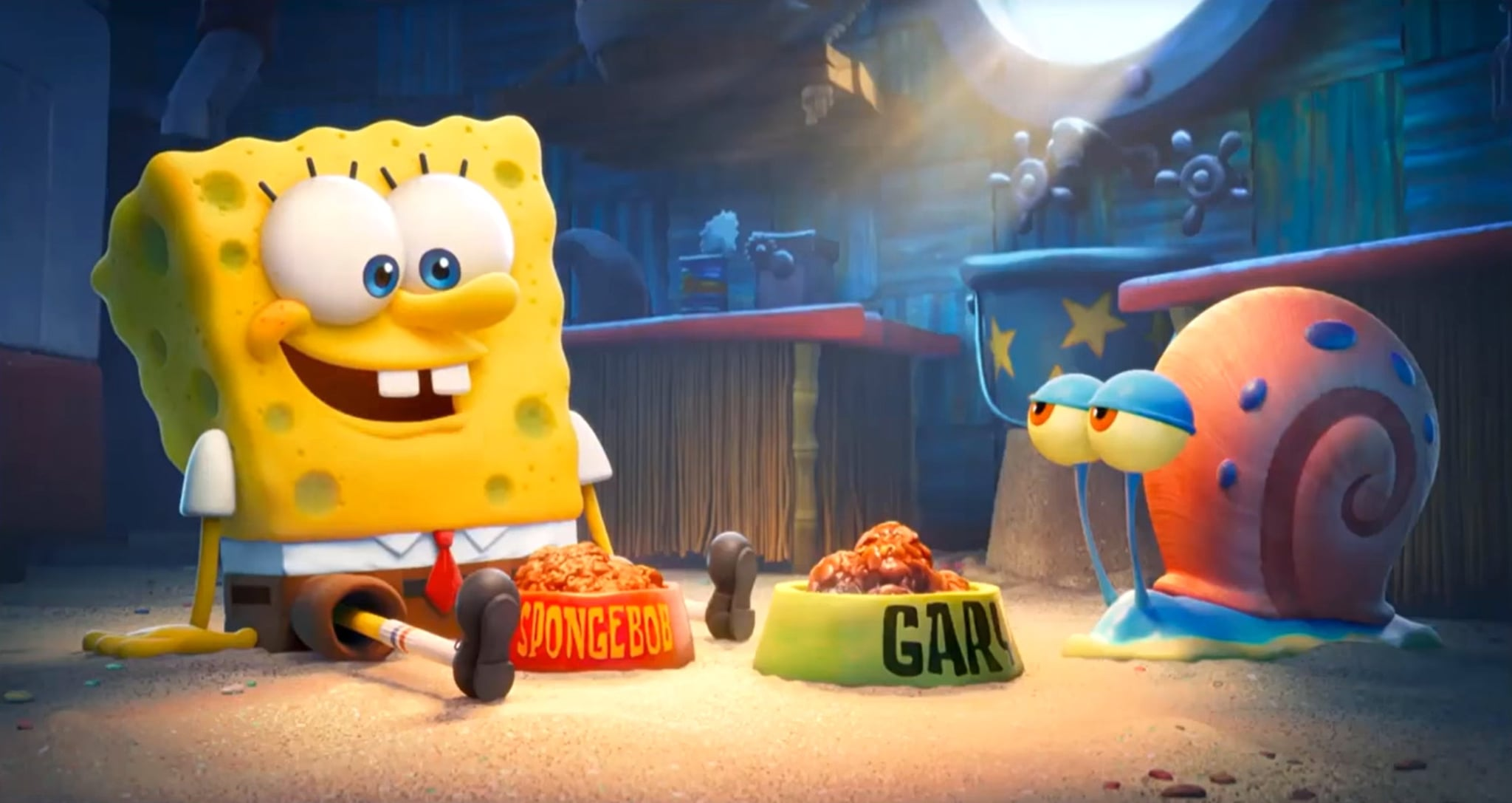 THE SPONGEBOB MOVIE: SPONGE ON THE RUN, from left: Spongebob Squarepants (voice: Tom Kenny), Gary the Snail, 2020.  Paramount Pictures / Courtesy Everett Collection