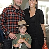Rainn Wilson brought his wife and son, who wore a matching hat, with him to the event.