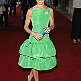 Smashing in emerald green Oscar de la Renta at the NYC Lincoln Center Ballet 2004 Spring Gala.