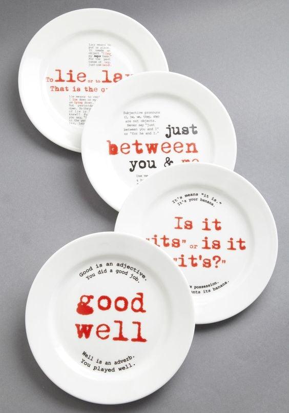 Gourmet Grammarian Plate Set ($85)