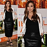 Elizabeth Olsen's Leather Pencil Skirt