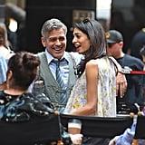 Amal Clooney Wearing a Floral Giambattista Valli Top