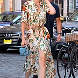 The supermodel wore this Alberta Feretti maxi dress while out and about in NYC in June. She wore the dress with a pair of crocodile embossed mules by Freda Salvador.