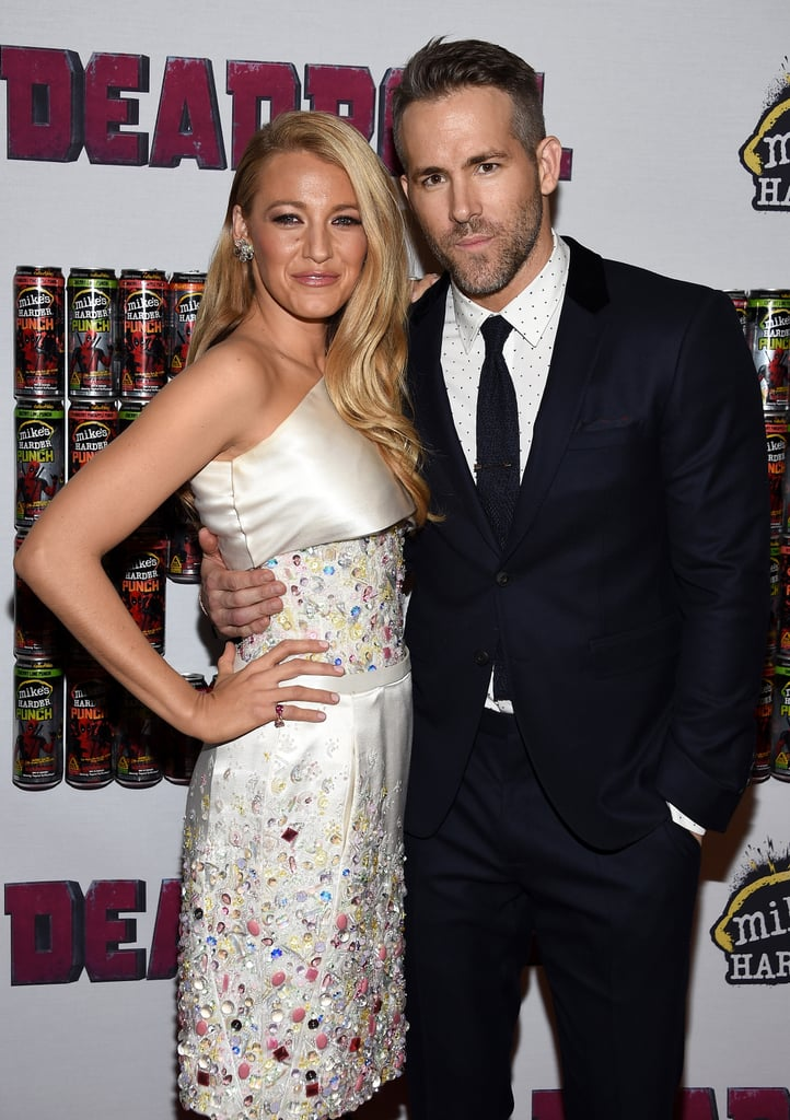 """Ryan Reynolds and Blake Lively were smiling ear-to-ear when they stepped out together at a fan event for Ryan's new film Deadpool in NYC on Monday. The pair struck a handful of poses on the red carpet before heading inside the AMC Empire Theatre, proving once again that they're Hollywood's cutest couple. Over the weekend, Blake showed support for her other half when she uploaded a funny photo of herself sitting on a Deadpool chair while Ryan hilariously cupped her breast, writing, """"Two Deadpools, one cup. . . Your turn.""""  The couple's latest appearance marks their first joint red carpet since Blake and Ryan welcomed a baby girl in January 2015: they attended the Angel Ball in NYC while Blake was still pregnant with baby James Reynolds. Keep reading to see more of the couple's night out, and check out what Ryan recently revealed about his daughter's name."""