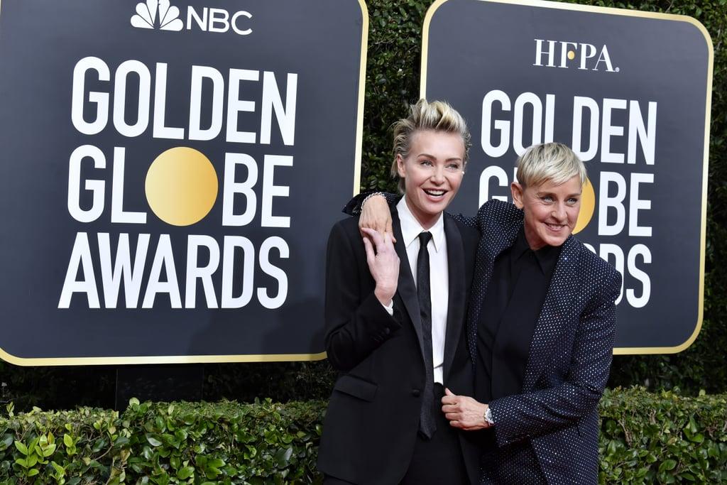 Portia de Rossi and Ellen DeGeneres at the 2020 Golden Globes