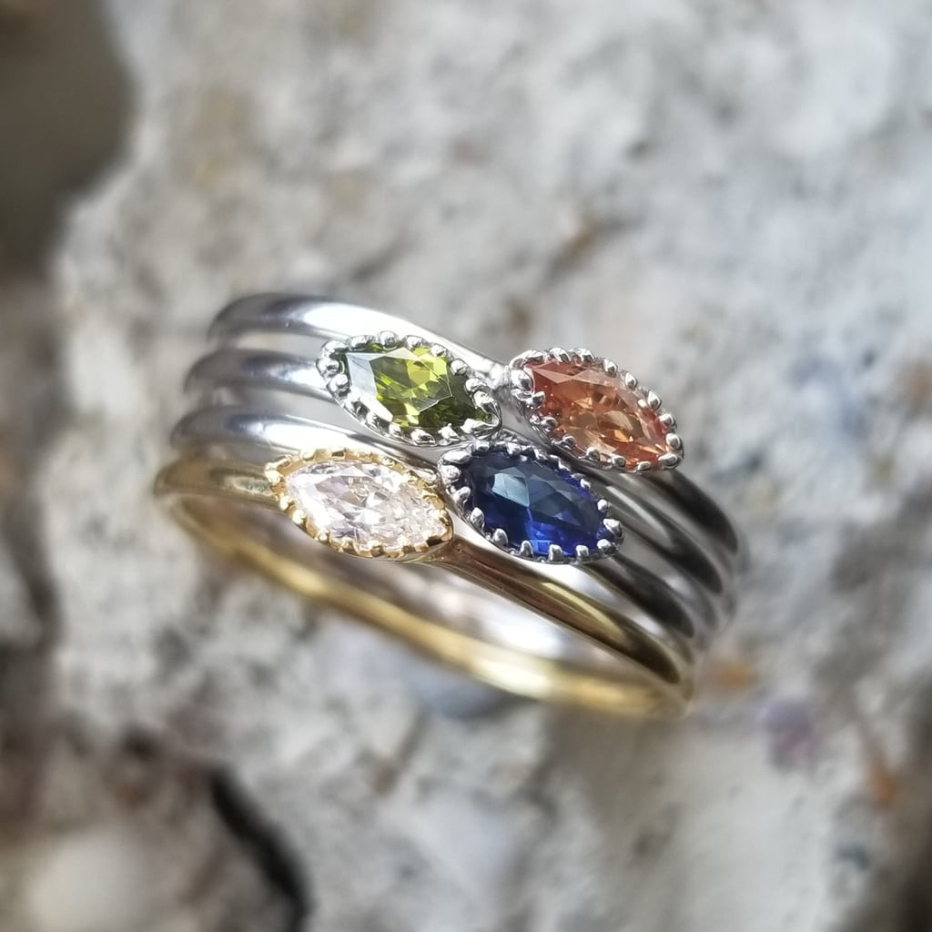 Stackable Birthstone Rings With Oval Stones Mother S Day Ring With