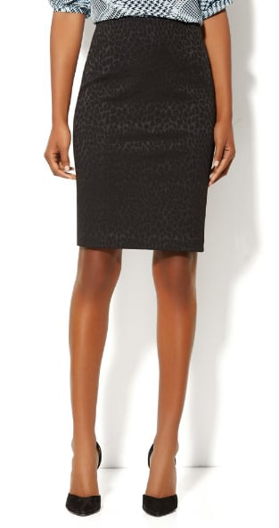 This New York & Company textured jacquard pencil skirt ($50) is like your basic pencil skirt with a seasonal bit of texture.