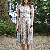 An all-over floral print made a midi-length dress even more lovely.