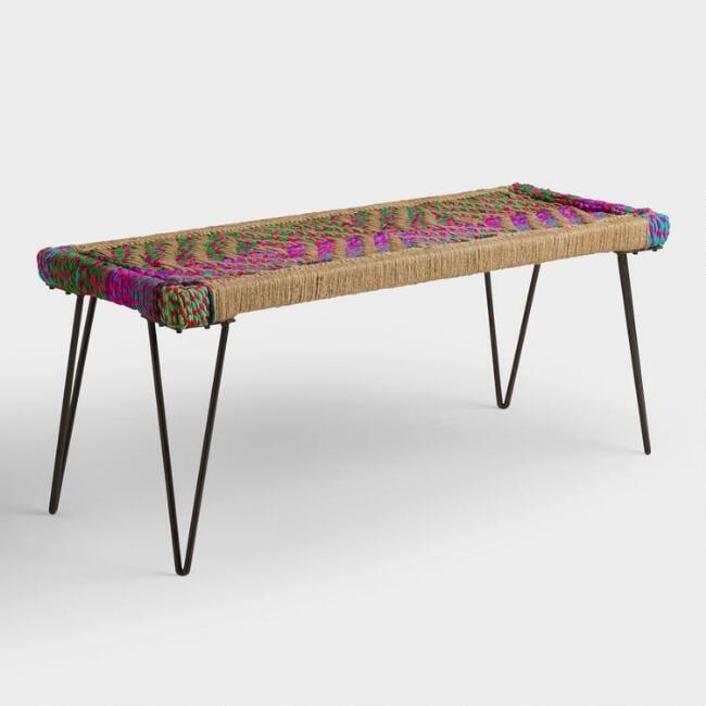 Woven Chindi Metal Bench