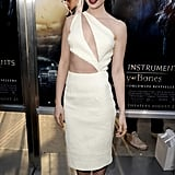 Lily Collins was at her most smoldering in a skin-baring Cushnie et Ochs design.