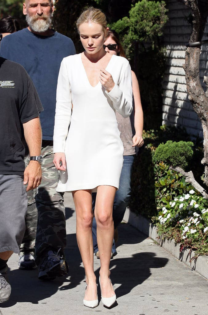 All-white can be so chic and elegant, as evidenced by this sheath-and-pumps look from November 2011.