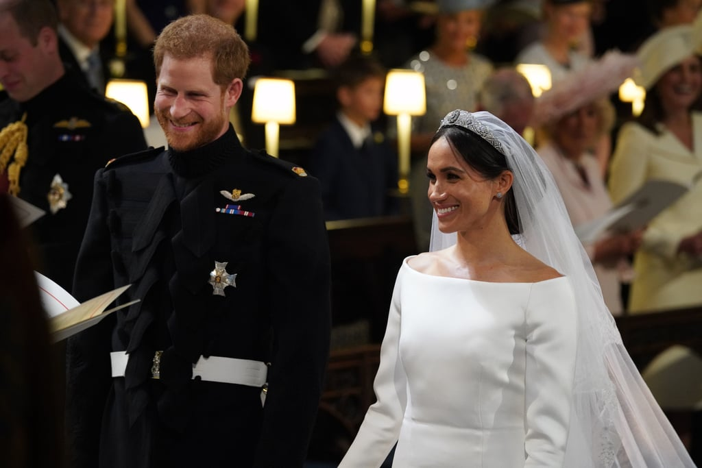 1: The number of Meghan's immediate family members that attended.  2: The number wedding dresses Meghan wore.  2: The number of Harry's exes that were in attendance. 3: Reported carats in Meghan's engagement ring.  3: Official royal wedding portraits that Kensington Palace released.
