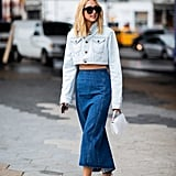 A cropped jean jacket and denim maxi skirt with optic white accessories feels so fresh for Spring.